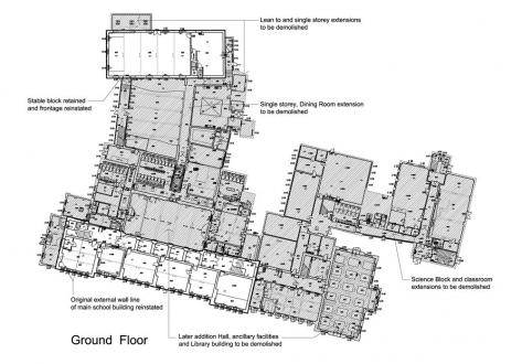 Main School Building - demolition plan