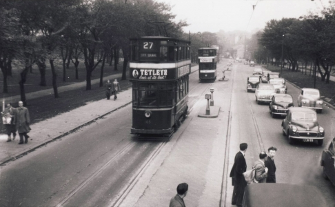 Two trams crossing the Moor